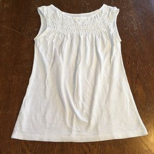 Loft outlet white smocked tank top